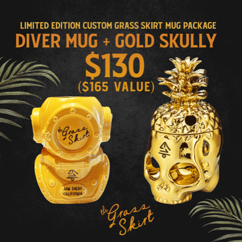 Limited edition custom Grass Skirt Mug Package: $130 for Diver Mug + Gold Skully ($165 value)