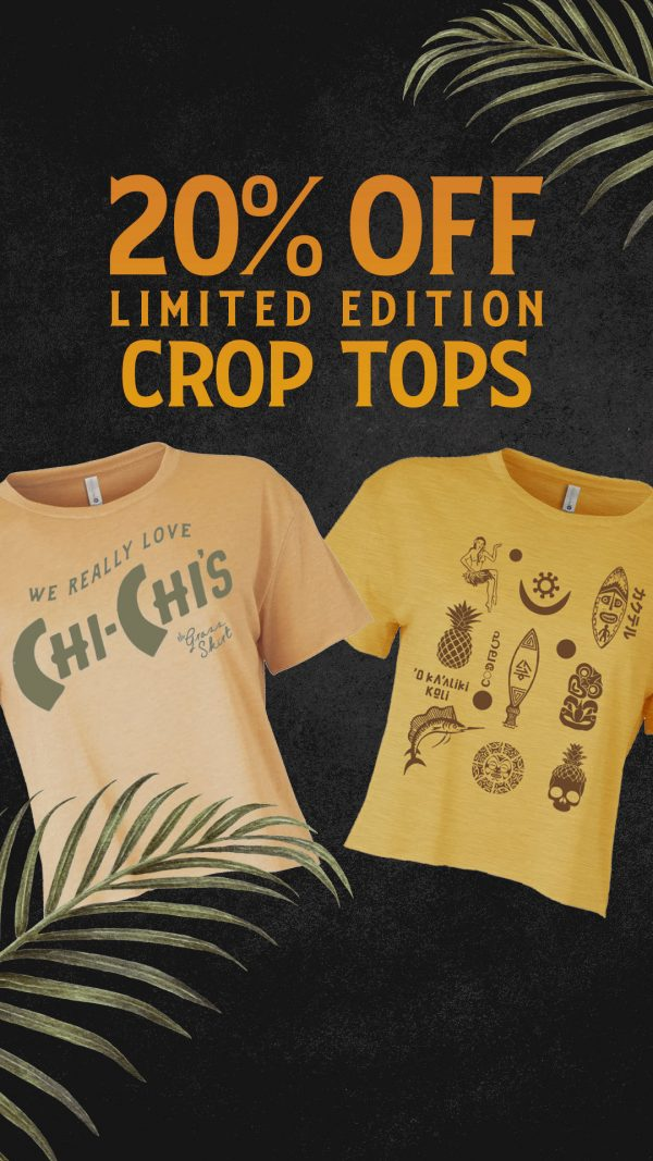 20% Off Limited Edition crop tops