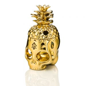 Gold Dipped Pineapple Skully Tiki Mug front