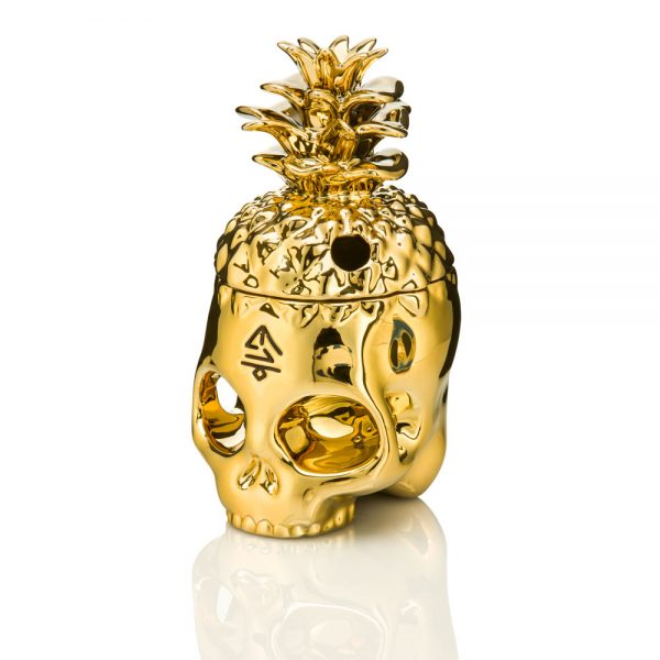 Gold Dipped Pineapple Skully Tiki Mug front