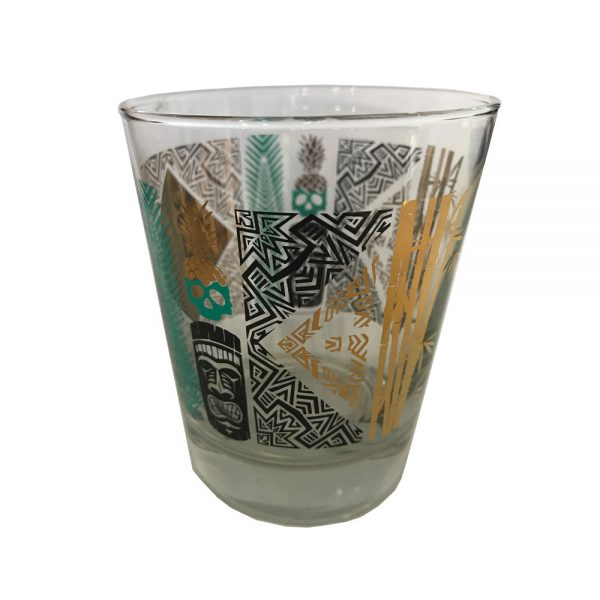Mai Tai Glass - Gold and Turquoise Foil side